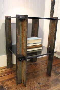 scrap metal end table. industrial, modern easy: