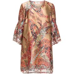 Zizzi Taupe-Grey / Multicolour Plus Size Printed satin tunic ($74) ❤ liked on Polyvore featuring tops, tunics, plus size, plus size summer tops, gray top, v neck tops, plus size tops and womens plus tunics