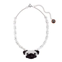 Limited edition, original Erstwilder Pierre's Pug Life Necklace in white. Designed by Louisa Camille Melbourne. Buy now
