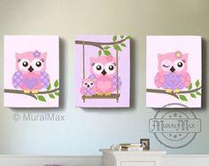 OWL Art, Girls Nursery Decor Wall Art, Owl Nursery Art, Canvas Art, Girl Room Decor, Owl Nursery Decor, Purple and Pink