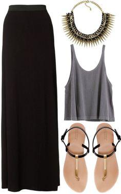 Descolado moda maxi skirt black, fashion e maxi skirt outfits. Mode Outfits, Casual Outfits, Fashion Outfits, Womens Fashion, Fashion Trends, Fashion Ideas, Skirt Outfits, Basic Fashion, Look Fashion