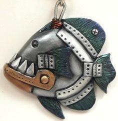 steampunk piranha - Lynn Reno (polymer clay)