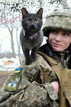 Ukraine,s armed forces : pics Ukraine Military, Animals And Pets, Cute Animals, Ukraine Women, Female Soldier, Army Soldier, Military Women, Cat People, Armed Forces