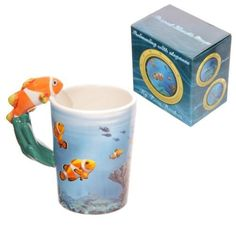 Shop today for Novelty Sealife Design Clown Fish Shaped Handle Ceramic Mug by weeabootique !