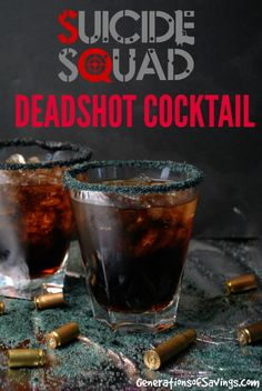 Suicide Squad Inspired Deadshot Cocktail Recipe for the upcoming movie. Delicious cocktail recipe made with a movie theme!