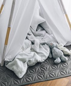 """""""A close up of the gorgeous textures and grey tones in Chet's teepee this afternoon. The beautiful Cam Cam quilt (mat) is available for pre order now from…"""""""