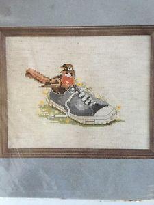 Vintage Cross Stitch Kit Sneaker Nest w Robin Bird by Charmin Janlynn Design Kae | eBay