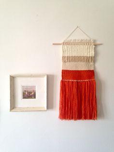 Woven wall hanging weaving hanging bright orange by Rowanstudios