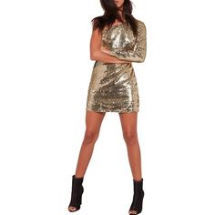 Missguided One-Shoulder Minidress ($40) ❤ liked on Polyvore featuring dresses, gold, long sleeve dresses, long sleeve sequin dress, one shoulder cocktail dress, cocktail party dress and sequin dress