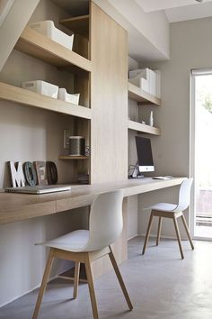 A great example of using space for storage, love these custom made desks and shelves! Adirondack Chairs, Dining Table Chairs, Modern Chairs, Corner Desk, Bookcase, Shelves, Furniture, Home Decor, Shelving