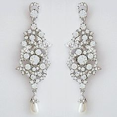 Bling! Bridal Jewelry & Earrings.  Crystal chandelier earrings with pearl drop. A lot of sparkle.  Contemporary bridal chandelier earrings.