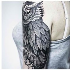 Owl half sleeve tattoo shoulder