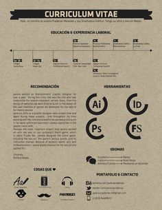 Resume / Curriculum Vitae by Javiera Pradenas Meneses, via Behance Curriculum Vitae Resume, Curriculum Design, Creative Curriculum, Cv Design, Resume Design, Graphic Design, Study Design, Portfolio Resume, Portfolio Design