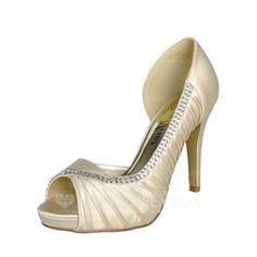 Women's Satin Stiletto Heel Peep Toe Pumps With Rhinestone (047057125) - JJsHouse