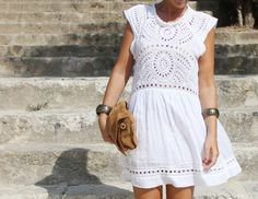 white eyelet dress with a twist