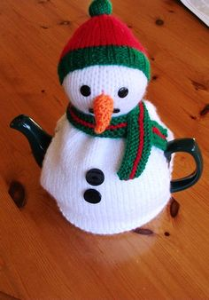 Snowman tea cozy. Perfect for Christmas tea.