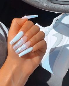 Bling Acrylic Nails, Acrylic Nails Coffin Short, Simple Acrylic Nails, Summer Acrylic Nails, Best Acrylic Nails, Bling Nails, Swag Nails, Grunge Nails, Coffin Ombre Nails