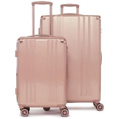 Women's Calpak Ambeur 2-Piece Spinner Luggage Set (4.615 ARS) ❤ liked on Polyvore featuring bags, luggage, suitcase and rose gold