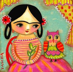 Colorful happy frida and owl painting