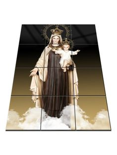 Virgin Mary Art - Religious wall art - Our Lady of Mount Carmel - Tile Mural - Virgin of Carmel - Religious gift - Catholic Wall Art Catholic Gifts, Religious Gifts, Religious Art, Catholic Art, Religious Icons, Virgin Mary Art, Lady Of Mount Carmel, Home Altar, Tile Murals