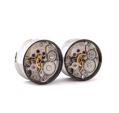 Clockwork Steampunk Vintage Watch Movement Ear Plugs by Jamlincrow