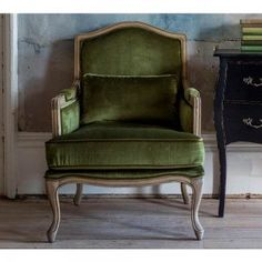 Hathaway Moss Green Velvet Chair - French Bedroom Chair