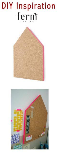 DIY Ferm Living Neon Pink Pinning Board (second photo by http://www.emiliesanschichi.com/archives/2012/04/29/24132231.html)