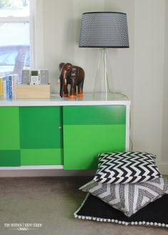 black white and green toddler room