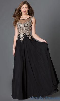 Shop sheer bodice long prom dresses with lace appliques at Simply Dresses. Long chiffon formal evening gowns and plus-size special occasion dresses.