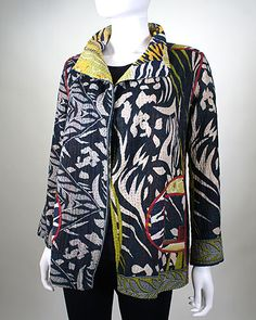 Cotton Kantha jacket. Running stitch quilted, reversible