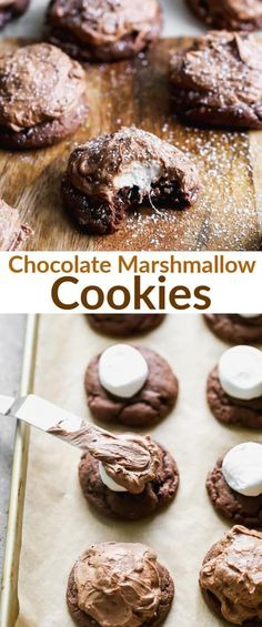 Chocolate Marshmallow Cookies have a delicious chewy cookie, topped with a warm marshmallow and smooth chocolate frosting. via Chocolate Marshmallow Cookies have a delicious chewy cookie, topped with a warm marshmallow and smooth chocolate frosting. Chocolate Chip Marshmallow Cookies, Chocolate Covered Marshmallows, Recipes With Marshmallows, Chocolate Frosting, Brownie Cookies, Chocolate Chip Cookies, Flourless Chocolate, Chocolate Recipes, Chocolate Chocolate