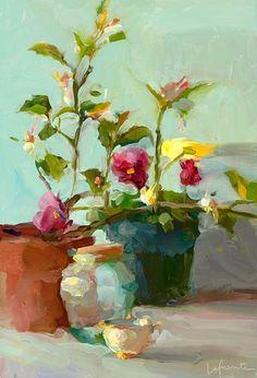 "Christine Lafuente, Pansies and lemon tree. repinned oct.17,2012 by Splashduck via Virginia Stevenson's board ""art"""