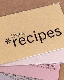 Baby food recipe cards: Really cute, easy DIY baby gift-craft time Baby Shower Gifts To Make, Baby Shower Presents, Diy Baby Gifts, Boy Baby Shower Themes, Baby Boy Shower, Toddler Meals, Kids Meals, Toddler Food, Boite A Lunch
