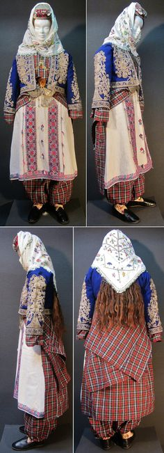 Traditional festive costume for women, from the central district of the Bolu province, ca. mid-20th century. Featuring a 'şalvar' (baggy trousers) and an 'üçetek' (robe with 3 panels) made of the same plaid fabric, a long embroidered chemise, an embroidered 'cepken' (long-sleeved vest), an impressive headgear, a breast jewel, a belt with buckle and four wooden spoons ('kaşik' = Anatolian castanets). (Kavak Costume Collection - Antwerpen/Belgium).