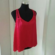 HOT PINK TANK Beautiful detail on this racerback tank.  100% Polyester. Rory Beca Tops Tank Tops