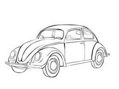 Vintage Car Coloring Pages VW Beetle