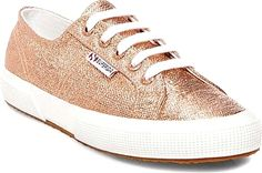 Superga Shoes - Glam up your look with the Superga 2750 Metallic Sneaker. Coated canvas offers a gleaming update to this classic low-cut sneaker. - #supergashoes #rose goldshoes