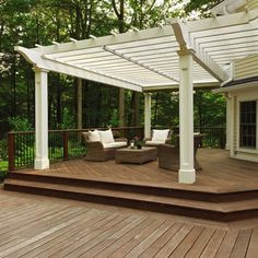Retractable pergola canopy over a wood deck. Would be nice to see it with the fabric extended! - rugged-life.com