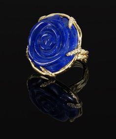 18k Yellow Gold Lapis Lazuli Gabrielle ring by Karen Karch - Stylehive