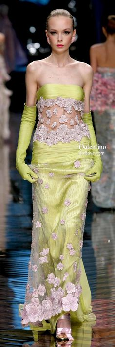Floral Embroidered Chartreuse Valentino