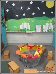 """Camping"" Campout at Preschool. Camping Learning Center at Preschool with Fire Pit for Summer Fun. Create an INdoor campout, complete with a creative campfire, reading suggestions and craft ideas. Camping theme for the classroom at RainbowsWithinReach Dramatic Play Area, Dramatic Play Centers, Camping Dramatic Play, Preschool Dramatic Play, Dramatic Play Themes, Play Centre, Learning Centers, Preschool Activities, Preschool Learning"