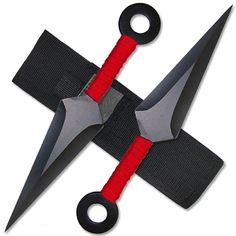 Kunai Throwing Knives - Red Inch Set w/ Sheath Shuriken, Swords And Daggers, Knives And Swords, Kunai Knife, Knife Throwing, Armas Ninja, Martial Arts Weapons, Ninja Weapons, Traditional Archery