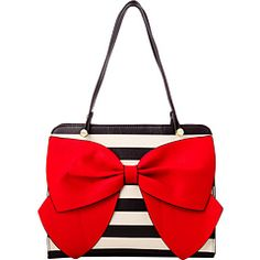 Cute striped handbag from Betsey Johnson. Obsessed with the oversize bow. #purses #fashion #accessories