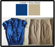 If you looking for a fun way to style this electric color, try it one of the seasons hottest trends, ruffles (1).   Khakis are a neat, clean cut alternative to business attire for men, and can be that way for woman as well.  The stone khaki color (sometimes in a shade known as pumice), gives your khakis a warm weather update.  Chose khakis that are in a traditional silhouette to keep your look professional during the day, as with this pencil skirt (2),