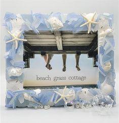 Artisan handmade sea glass frame, coastal beach glass frame. Makes a perfect beach wedding gift, beach gift, housewarming gift, or beautiful beach decor! Sea Glass Decor, Sea Glass Colors, Sea Glass Art, Seashell Frame, Beach Frame, Starfish, Seashells, Beach Wedding Gifts, Beach Gifts