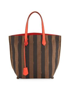 b1cf210a28dd Fendi Pequin Striped Canvas Leather Shopper Tote Bag