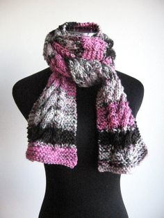 Made to Order  Hand Knit Scarf Orchid Grey Black by KnitsByNat