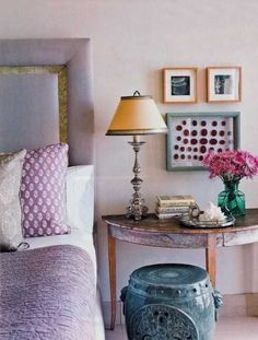 pillows and throw in purple color for bedroom decorating #coloroftheyear #radiantorchid