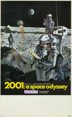 """Film: 2001: A Space Odyssey (1968) Year poster printed: 1968 Country: USA Size: 9"""" x 14.5"""" Artist: Bob McCall This is a rare, vintage Cinerama mini window card poster from 1968 for 2001: A Space Odyss"""