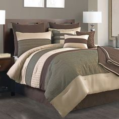 Lexiara 10-Piece Comforter Set in Taupe/Brown - BedBathandBeyond.com